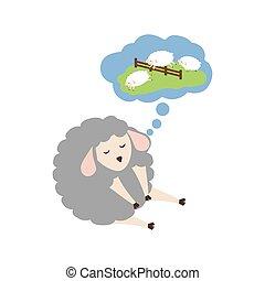 Sheep sleeping cartoon