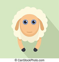 Sheep smile icon, flat style