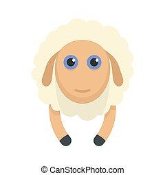 sheep, sonrisa, icono, estilo, plano