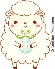 sheep, sprytny, zacisk, kawaii, rzeźnik, litera, odizolowany, style., jagnię, projektować, egg., rysunek, wielkanoc, sztuka