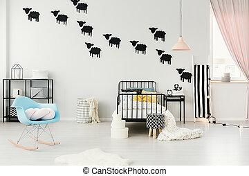 Sheep stickers in cozy bedroom