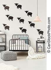Sheep stickers in kid's bedroom