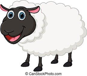 sheep, tecknad film, lycklig
