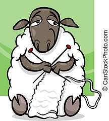 sheep, tejido de punto, caricatura, ilustración
