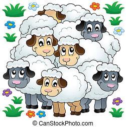 sheep, tema, avbild, 3