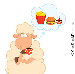 sheep thinks about harmful fastfood - Vector illustration of...