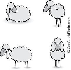 sheep, três, abstratos, cinzento