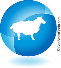 Sheep Transparent Blue Icon