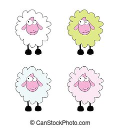 sheep, vector, caricatura, ilustración