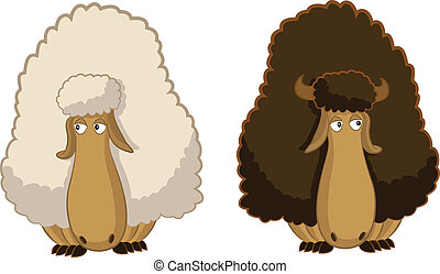 Vector image of two cartoon funny sheep
