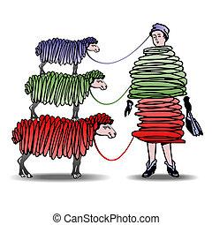 sheep, vestido, mulher, tricotando, três