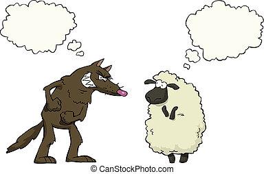 sheep, vs , λύκος