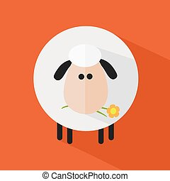 Sheep With A Flower.Illustration 4 - White Sheep With A...