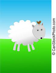 Sheep with bird