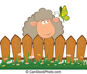 sheep with butterfly after a fence - cartoon smiling sheep...