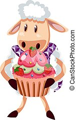 Sheep with cake, illustration, vector on white background.