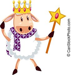 Sheep with crown, illustration, vector on white background.