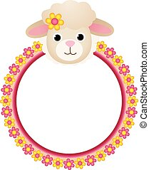 Sheep with Flower Frame