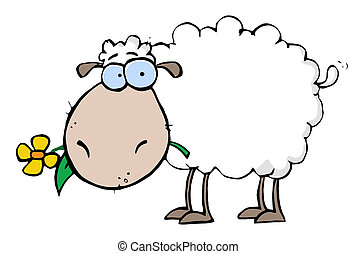 White Sheep Carrying A Flower In Its Mouth