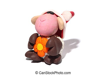 Sheep with flower