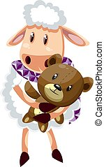 Sheep with teddy bear, illustration, vector on white background.