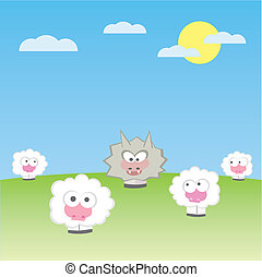 sheep with wolf vector illustration