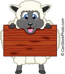 Sheep with wooden board cartoon