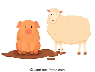 Sheep with Wool and Pig Sitting in Dirt Vector