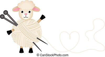 Scalable vectorial image representing a sheep with wool yarn and knitting needles, isolated on white.