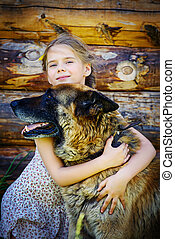 sheepdog with a girl