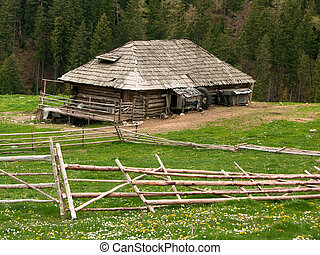 Sheepfold cottage in mountains