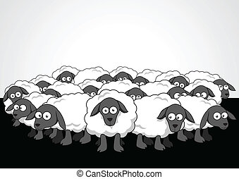Cartoon illustration of the flock of sheep