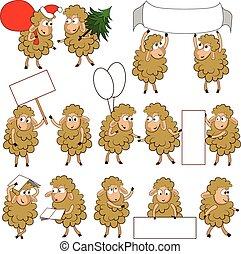 sheeps, ensemble, divers, dessin animé