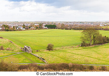 Sheep's Gate and the town of Trim Ireland seen from above
