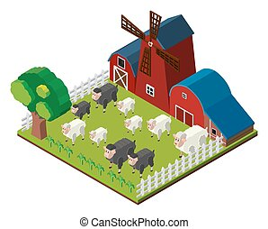 Sheeps on the farm in 3D design