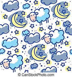 hand drawn seamless pattern with moons, clouds and sheeps