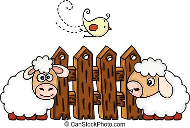 Sheeps with bird before a fence
