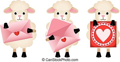 Sheeps with envelope and heart postcard