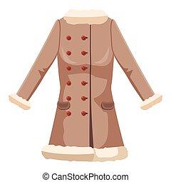 Sheepskin jacket icon, cartoon style