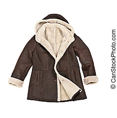 Warm brown shearling winter coat isolated on white
