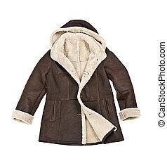 Sheepskin winter coat - Warm brown shearling winter coat...