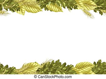 Sheet frame vector pattern with leaves and rye