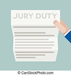 sheet jury duty - detailed illustration of a hand holding a ...