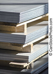 sheet metal on wood palettes