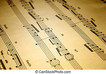 Sheet Music - A close up of an old piece of sheet music