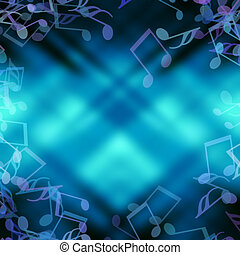 Sheet music blue abstract background