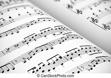 Sheet music - Musical concept background: macro view of...
