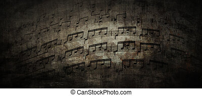 Sheet Music - musical background in grunge style