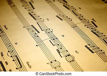 Sheet Music - A close up of an old piece of sheet music