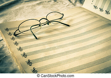 Sheet Music - Vintage toned blank composition sheet music...
